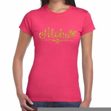 Goedkope aloha goud fun t shirt roze voor dames