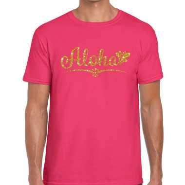Goedkope aloha goud glitter hawaii fun t shirt roze voor heren