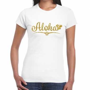 Goedkope aloha goud hawaii t shirt wit voor dames