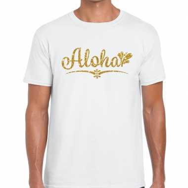 Goedkope aloha goud letters fun t shirt wit voor heren
