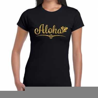 Goedkope aloha gouden letters fun t shirt zwart voor dames