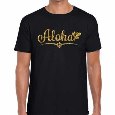 Goedkope aloha gouden letters fun t shirt zwart voor heren
