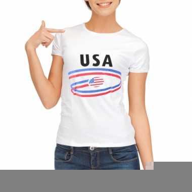 Goedkope amerika t-shirt voor dames met vlaggen print