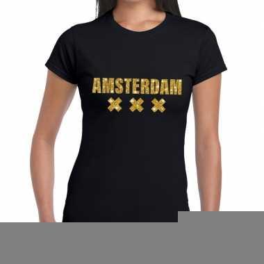 Goedkope amsterdam gouden letters fun t shirt zwart voor dames