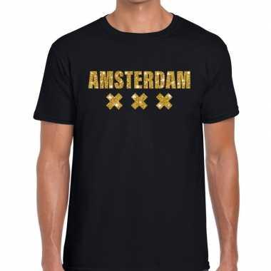 Goedkope amsterdam gouden letters fun t shirt zwart voor heren