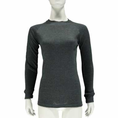 Goedkope antraciet grijs thermo shirt met lange mouwen voor dames