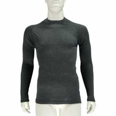 Goedkope antraciet grijs thermo shirt met lange mouwen voor heren