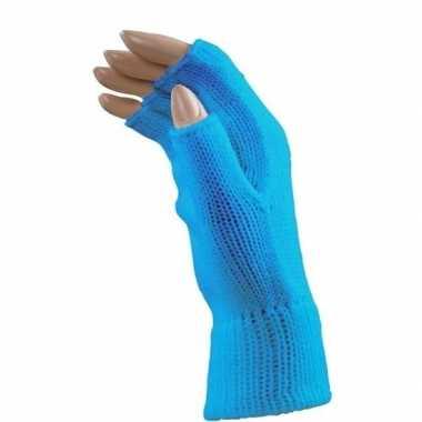 Goedkope aqua blauwe handschoenen zonder vingers voor volwassenen