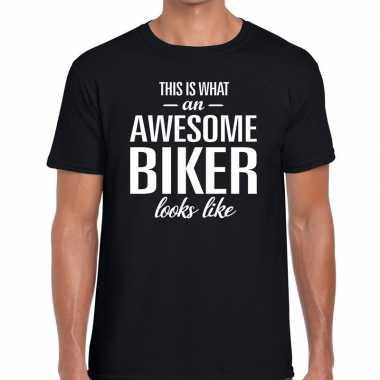 Goedkope awesome biker fun t shirt zwart voor heren bedankt cadeau vo
