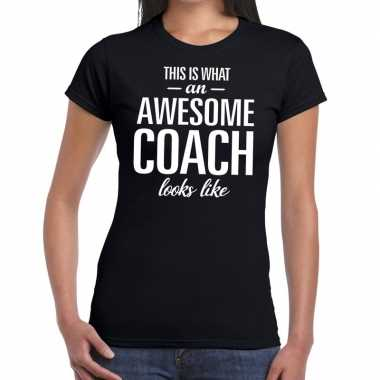 Goedkope awesome coach cadeau t shirt zwart voor dames coach bedankt