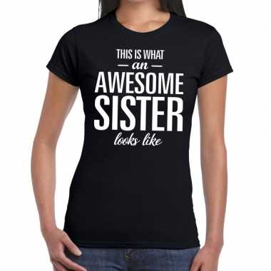 Goedkope awesome sister fun t-shirt zwart voor dames