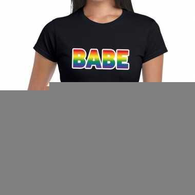 Goedkope babe gay pride tekst/fun shirt zwart dames