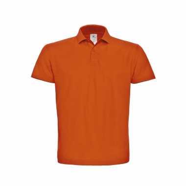 Goedkope basic polo t shirt / poloshirt oranje voor koningsdag of ek / wk supporter van katoen voor heren
