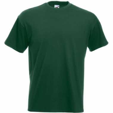 Goedkope basis heren t shirt donker groen met ronde hals