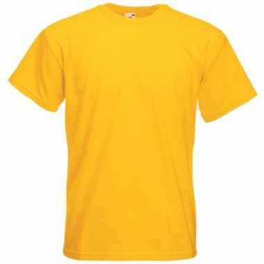 Goedkope basis heren t shirt geel met ronde hals