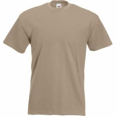 Goedkope basis heren t shirt kaky beige met ronde hals