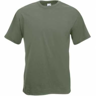 Goedkope basis heren t shirt olijf groen met ronde hals