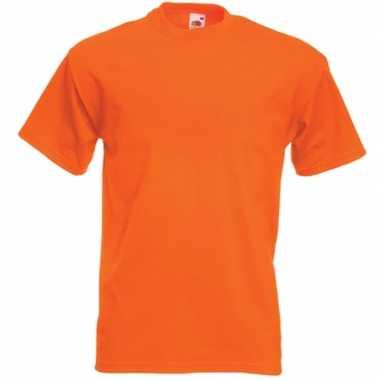 Goedkope basis heren t shirt oranje met ronde hals