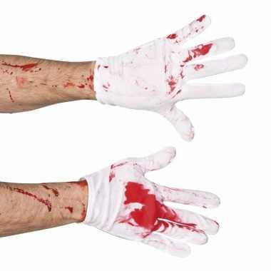 Goedkope bebloede witte handschoenen voor heren