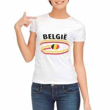 Goedkope belgie t-shirt voor dames met vlaggen print