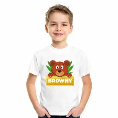 Goedkope beren dieren t shirt wit voor kinderen