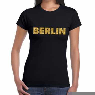 Goedkope berlin gouden letters fun t shirt zwart voor dames