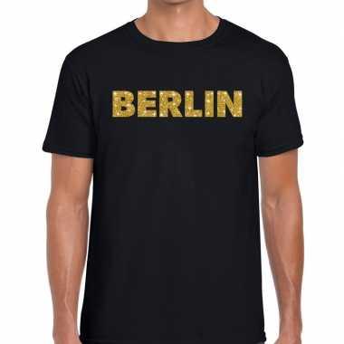 Goedkope berlin gouden letters fun t shirt zwart voor heren