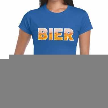 Goedkope bier fun t shirt blauw voor dames
