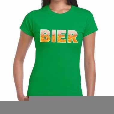 Goedkope bier fun t shirt groen voor dames