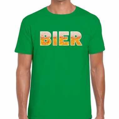 Goedkope bier fun t shirt groen voor heren