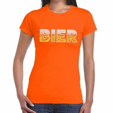 Goedkope bier fun t shirt oranje voor dames