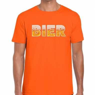 Goedkope bier fun t shirt oranje voor heren