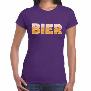 Goedkope bier fun t shirt paars voor dames