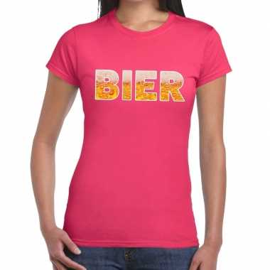 Goedkope bier fun t shirt roze voor dames