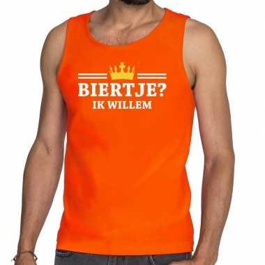 Goedkope biertje ik willem mouwloos shirt / tanktop oranje heren