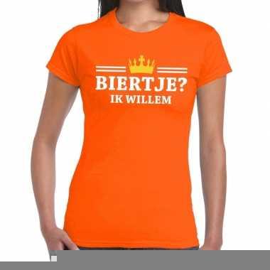 Goedkope biertje ik willem shirt oranje dames