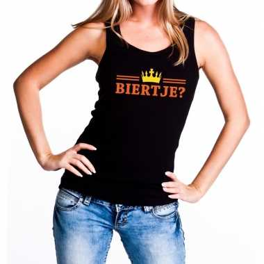 Goedkope biertje tanktop / mouwloos shirt zwart voor dames