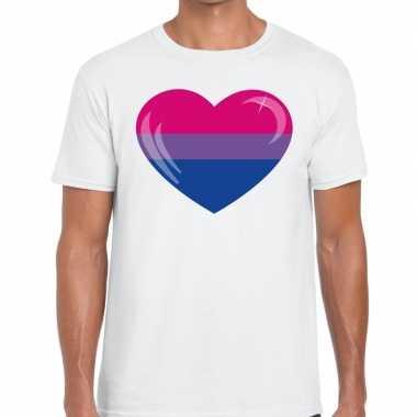 Goedkope bisexueel hart gay pride shirt wit heren