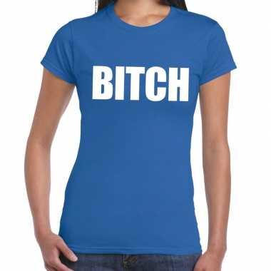 Goedkope bitch fun t shirt blauw voor dames