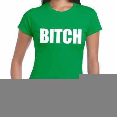 Goedkope bitch fun t shirt groen voor dames
