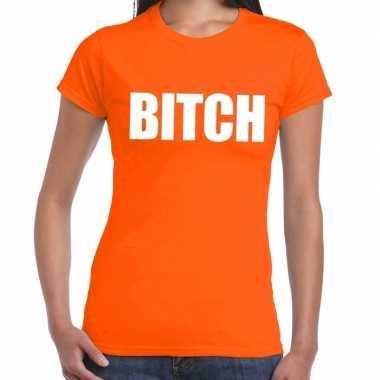 Goedkope bitch fun t shirt oranje voor dames