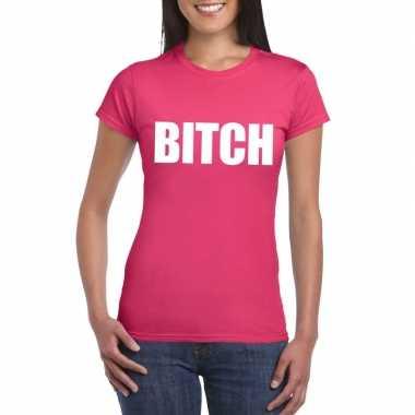 Goedkope bitch fun t shirt roze voor dames