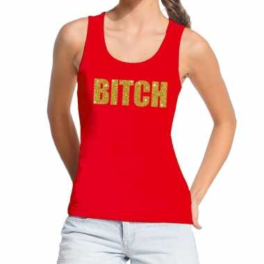 Goedkope bitch fun tanktop / mouwloos shirt rood voor dames