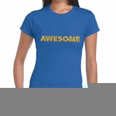 Goedkope blauw awesome goud fun t shirt voor dames