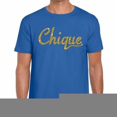 Goedkope blauw chique goud fun t shirt voor heren
