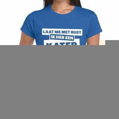 Goedkope blauw feest t shirt laat me met rust ik heb een kater blauw