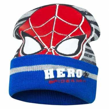 Goedkope blauw/grijze spiderman wintermuts voor jongens