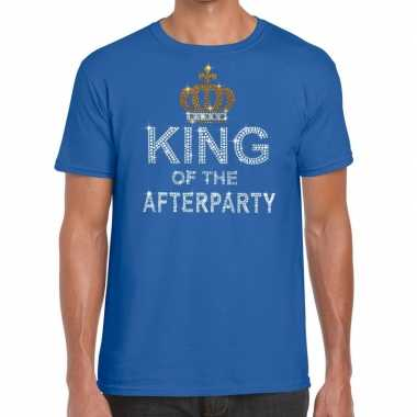 Goedkope blauw king of the afterparty glitter steentjes t shirt heren