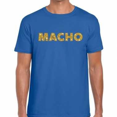 Goedkope blauw macho goud fun t shirt voor heren