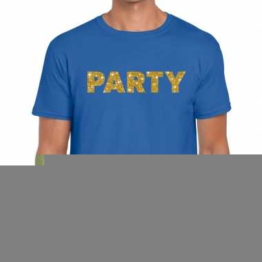 Goedkope blauw party goud fun t shirt voor heren
